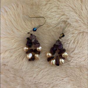 Cute Purple Beaded Earrings